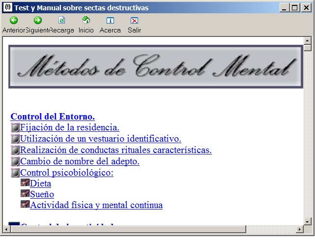 Pantalla del Manual de control mental